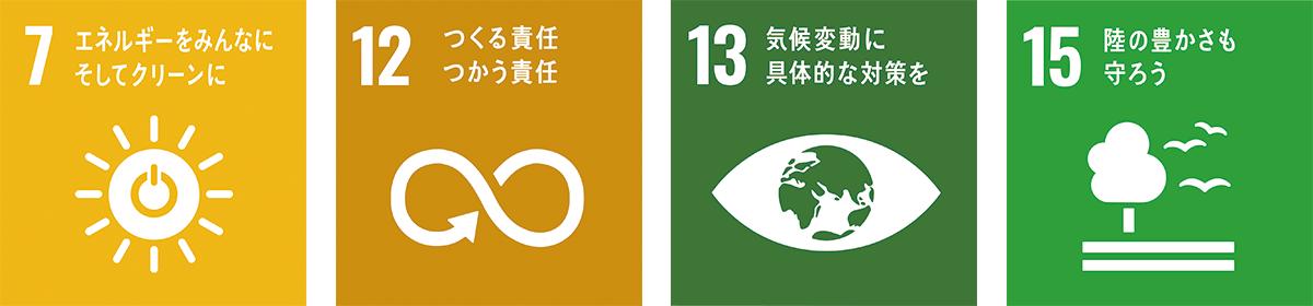 7エネルギーをみんなにそしてクリーンに、12つくる責任つかう責任、13気候変動に具体的な対策を、15陸の豊かさも守ろう